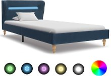 vidaXL Bed Frame with LED Blue Fabric 90x190 cm
