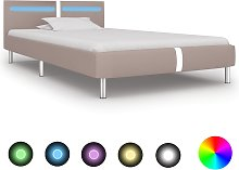 vidaXL Bed Frame with LED Cappuccino Faux Leather