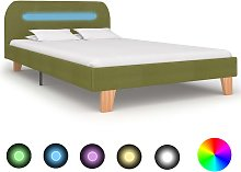 vidaXL Bed Frame with LED Green Fabric 120x190 cm
