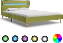 vidaXL Bed Frame with LED Green Fabric 135x190 cm