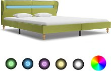 vidaXL Bed Frame with LED Green Fabric 150x200 cm