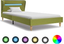 vidaXL Bed Frame with LED Green Fabric 90x190 cm