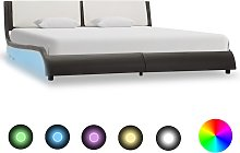 vidaXL Bed Frame with LED Grey and White Faux