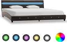 vidaXL Bed Frame with LED Grey Faux Leather