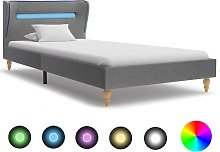vidaXL Bed Frame with LED Light Grey Fabric 90x190