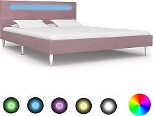vidaXL Bed Frame with LED Pink Fabric 135x190 cm