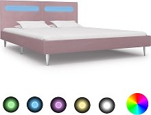 vidaXL Bed Frame with LED Pink Fabric 180x200 cm