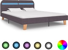 vidaXL Bed Frame with LED Taupe Fabric 150x200 cm