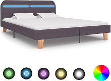 vidaXL Bed Frame with LED Taupe Fabric 180x200 cm