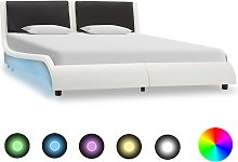 vidaXL Bed Frame with LED White and Black Faux