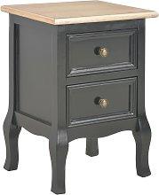 vidaXL Bedside Cabinet Black 35x30x49 cm MDF