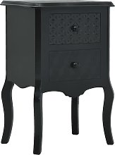 vidaXL Bedside Cabinet Black 43x32x65 cm MDF