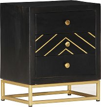 vidaXL Bedside Cabinet Black and Gold 40x30x50 cm