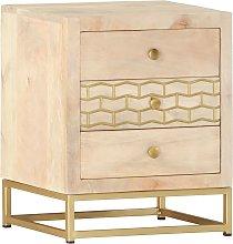 vidaXL Bedside Cabinet Gold 40x30x50 cm Solid