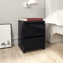 vidaXL Bedside Cabinet High Gloss Black 30x30x40