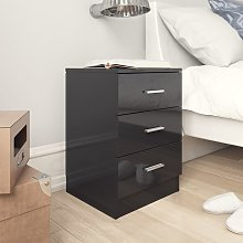 vidaXL Bedside Cabinet High Gloss Black 38x35x56