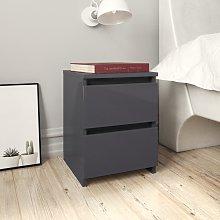 vidaXL Bedside Cabinet High Gloss Grey 30x30x40 cm