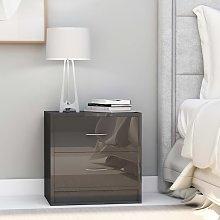 vidaXL Bedside Cabinet High Gloss Grey 40x30x40 cm