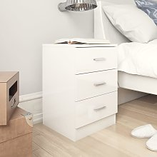vidaXL Bedside Cabinet High Gloss White 38x35x56