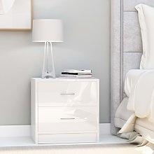vidaXL Bedside Cabinet High Gloss White 40x30x40