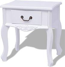 vidaXL Bedside Cabinet MDF White