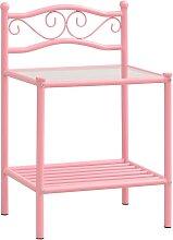 vidaXL Bedside Cabinet Pink & Transparent 43x33x65
