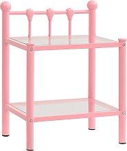 vidaXL Bedside Cabinet Pink&Transparent