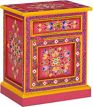 vidaXL Bedside Cabinet Solid Mango Wood Pink Hand