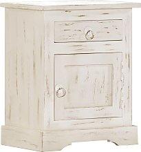 vidaXL Bedside Cabinet White 40x30x50 cm Solid