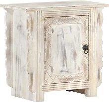 vidaXL Bedside Cabinet White 50x30x50 cm Solid