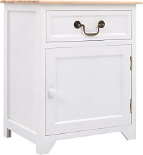 vidaXL Bedside Cabinet White and Brown 40x30x50 cm