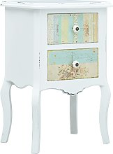 vidaXL Bedside Cabinet White and Brown 43x32x65 cm
