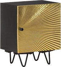 vidaXL Bedside Cabinet with Brass Front 40x30x50