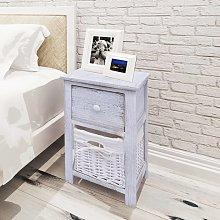vidaXL Bedside Cabinet Wood White