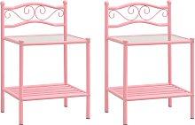 vidaXL Bedside Cabinets 2 pcs Pink and Transparent