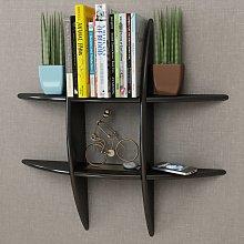 vidaXL Black MDF Floating Wall Display Shelf