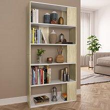 vidaXL Book Cabinet/Room Divider White and Sonoma