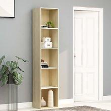 vidaXL Book Cabinet White and Sonoma Oak 40x30x189