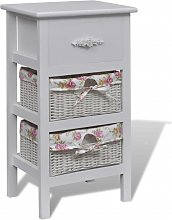 vidaXL Cabinet with 1 Drawer and 2 Baskets White