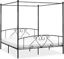vidaXL Canopy Bed Frame Black Metal 6FT Super King