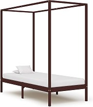 vidaXL Canopy Bed Frame Dark Brown Solid Pine Wood