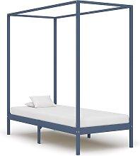 vidaXL Canopy Bed Frame Grey Solid Pine Wood