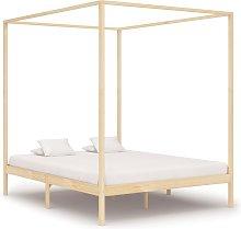 vidaXL Canopy Bed Frame Solid Pine Wood 6FT Super