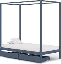 vidaXL Canopy Bed Frame with 2 Drawers Grey Solid