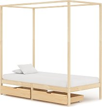 vidaXL Canopy Bed Frame with 2 Drawers Solid Pine