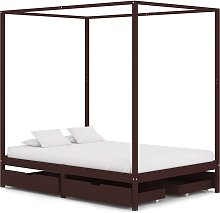 vidaXL Canopy Bed Frame with 4 Drawers Dark Brown