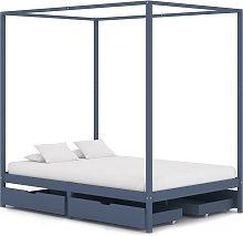 vidaXL Canopy Bed Frame with 4 Drawers Grey Solid