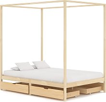 vidaXL Canopy Bed Frame with 4 Drawers Solid Pine