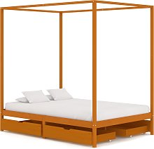 vidaXL Canopy Bed Frame with 4 Drawers Solid Pine Wood 140x200 cm