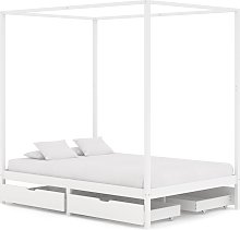 vidaXL Canopy Bed Frame with 4 Drawers White Solid